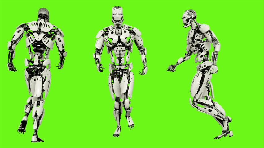 Robot android running. Realistic looped motion on green screen background. 4K. #1013211212