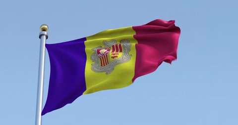 4K Andorra flag on pole blowing in wind in front of a clear blue sky on a sunny day