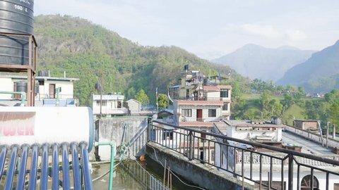 Nepalese city Besisahar. Morning time.