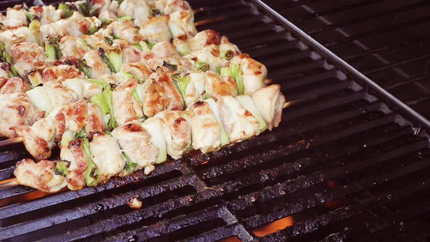Step by step. Glazing chicken yakitori on bamboo skewers with pastry brush.   Shutterstock HD Video #1013257682
