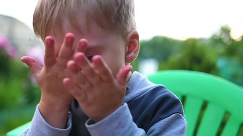 Summer evening time. A small child covers his face with his hands from mosquitoes. Blood-sucking insects