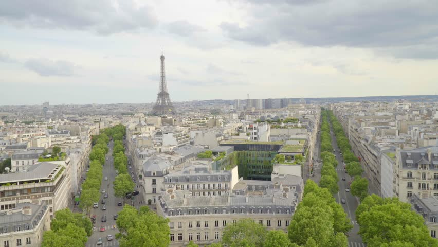 Champs Elysees cityscape. View from Arc de Triomphe and Eiffel Tower. Daylight scene in summer with blue sky.