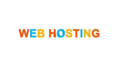 internet term WEB HOSTING from letters of different colors appears behind small squares. Then disappears. Alpha channel Premultiplied - Matted with color white