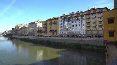 Florence holy trinity bridge from old bridge Ponte Vecchio