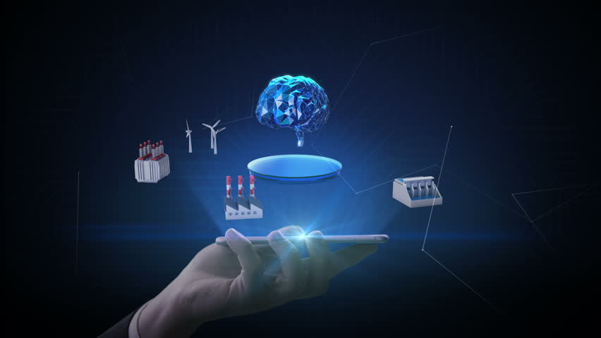 Lifting smart phone, mobile, Smart Factory, solar panel, wind generator, Hydroelectricity connect 'Digital Brain' Internet of things, Artificial intelligence, green energy. 4k movie. | Shutterstock HD Video #1013330012