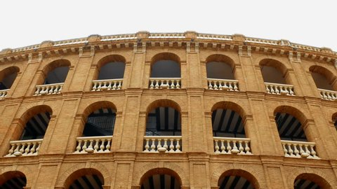 Spanish-style bullfighting facade in Valencia, Spain