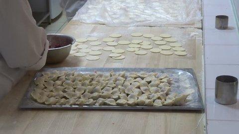 Making Dumplings by hands (russian pelmeni, russian vareniki)