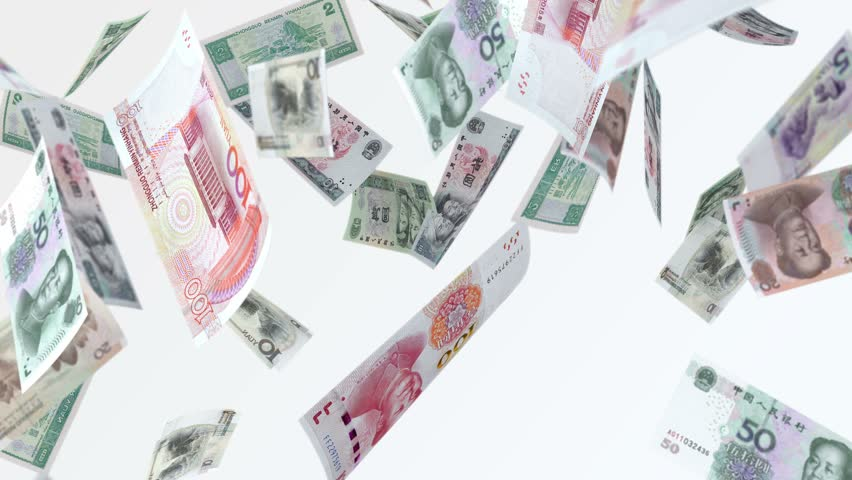 Rain from Chinese Yen banknotes. 4k looped video. Smoothly falling yen banknotes.  resolution: 4K UHD (3840 × 2160) codec: Quick Time photo jpg duration: 29 sec fps: 29,97 | Shutterstock HD Video #1013352842