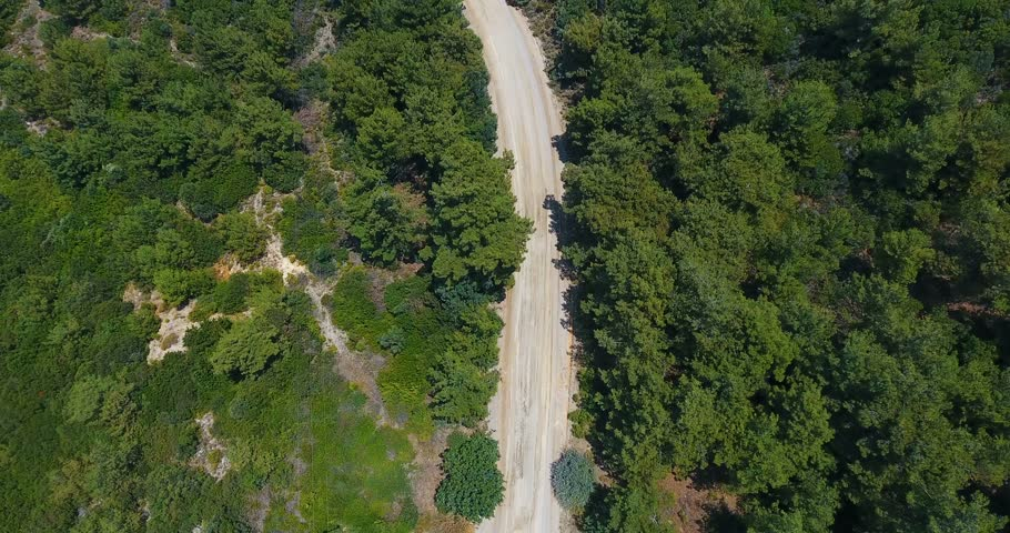 Drone shot top view sunny mountain forest with pathway in low mountain range / Drone shot top view sunny mountain forest with pathway in autumn in low mountain range #1013353952