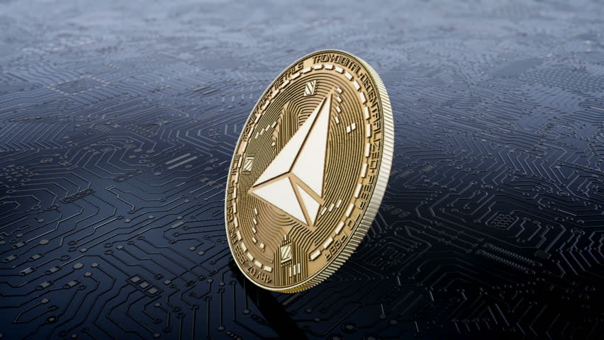 Falling rotation and stopping of coin resource tron cryptocurrency   Shutterstock HD Video #1013369642