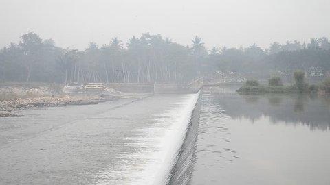 Beautiful water stream in the river called Kali Progo, Yogyakarta, Indonesia.