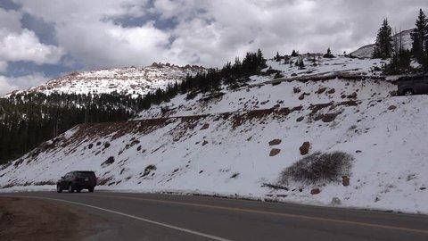 Colorado, USA - 05 MAY 2018: - The car drove along the road on the mountain Pikes Peak Mountains in Colorado Spring, Colorado, USA