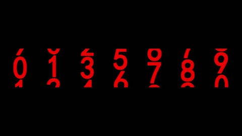 Red numerals of the counter on black background. Seamless loop 3d animation.