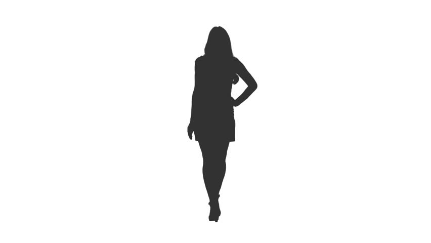 Silhouette of cheerful girl in mini skirt walks with hands on hips, Front view, Full HD footage with alpha transparency channel isolated on white background
