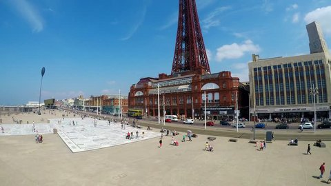 Aerial footage of Blackpool Tower and surrounding areas