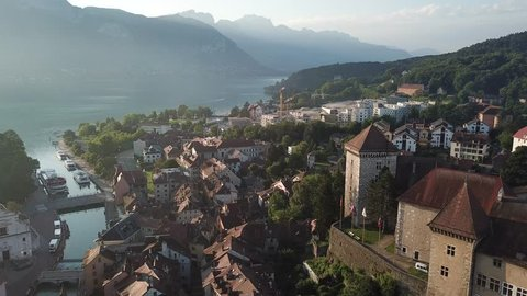 Annecy castle and old city aerial panoramic drone view, France