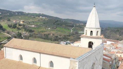 Aerial drone footage of Larino Dome in Campobasso in Molise Italy// no video editing