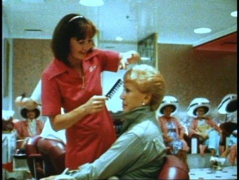 QUEEN ELIZABETH 2, 1982, QE2 beauty shop, medium, woman in chair