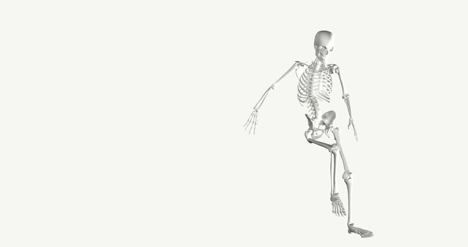 A white 3d skeleton on a white background dances in a circle, joking and miming a tease. A 3D skeleton spinning around in circles, animation concept for joy and joke