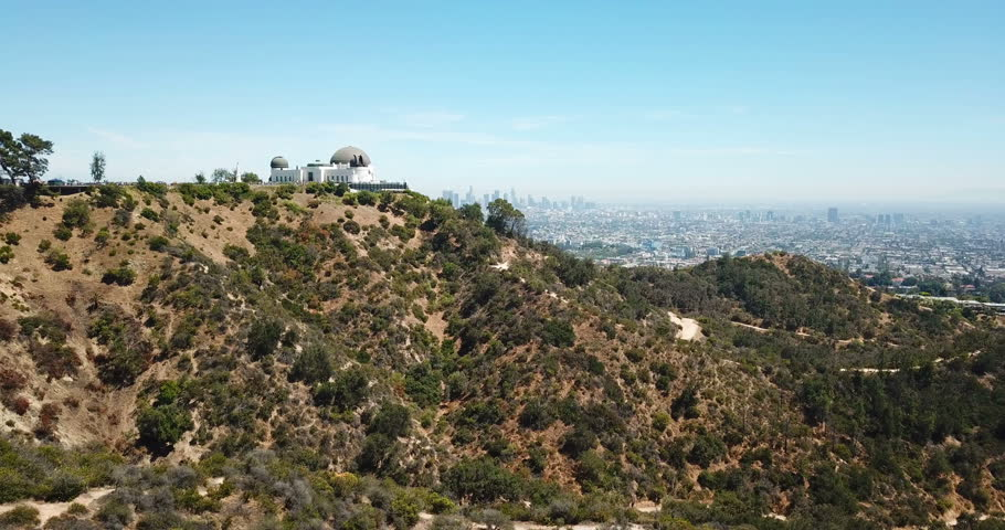Aerial view of Griffith Observatory and downtown of Los Angeles, California   Shutterstock HD Video #1013535182