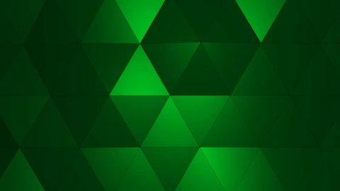Loopable Abstract Green Low Poly 3D surface as CG background. Soft Polygonal Geometric Low Poly motion background of shifting Red Orange polygons. 4K Fullhd seamless loop background render V1