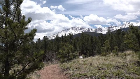 Pikes Peak Panorama. The beautiful scenic view from top of the Pikes Peak Mountains in Colorado Spring, Colorado, USA