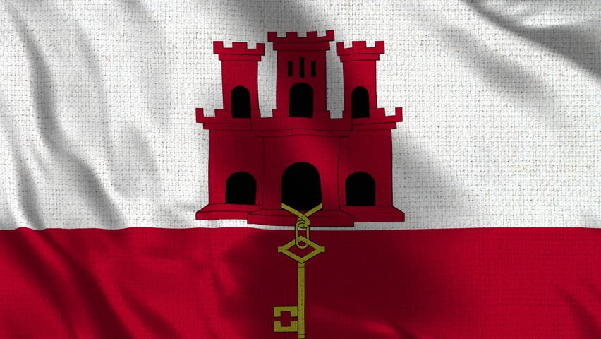 Gibraltar Flag Loop - Realistic 4K - 60 fps flag of the Gibraltar waving in the wind. Seamless loop with highly detailed fabric texture. Loop ready in 4k resolution