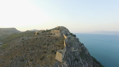 4K Drone footage in Nafplio during sunset