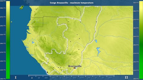 Maximum temperature by month in the Congo Brazzaville area with animated legend - English labels: country and capital names, map description. Stereographic projection