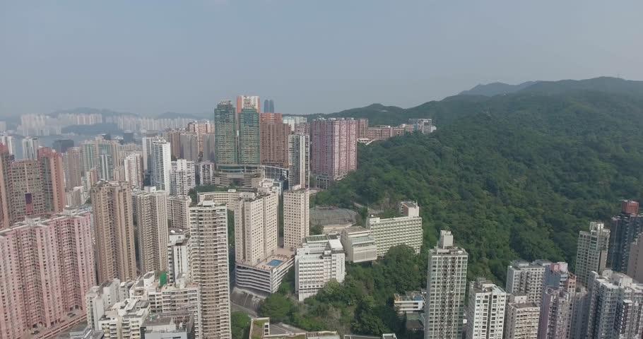 Hong Kong - September 30, 2016: A bird's eye view of downtown Hong Kong on September, 2016. | Shutterstock HD Video #1013644442