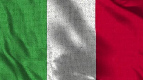 Italy Flag Loop - Realistic 4K - 60 fps flag of the Italy waving in the wind. Seamless loop with highly detailed fabric texture. Loop ready in 4k resolution
