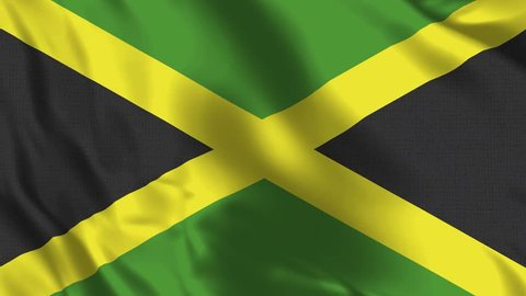 Jamaica Flag Loop - Realistic 4K - 60 fps flag of the Jamaica waving in the wind. Seamless loop with highly detailed fabric texture. Loop ready in 4k resolution