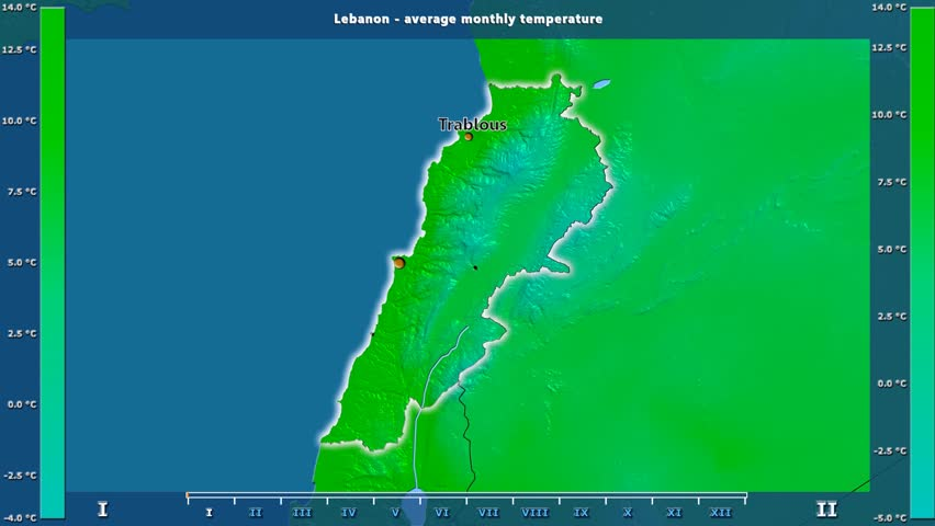 Average temperature by month in the Lebanon area with animated legend - English labels: country and capital names, map description. Stereographic projection