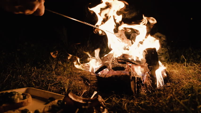 Camp fire during the night with some bacon roasting | Shutterstock HD Video #1013648912