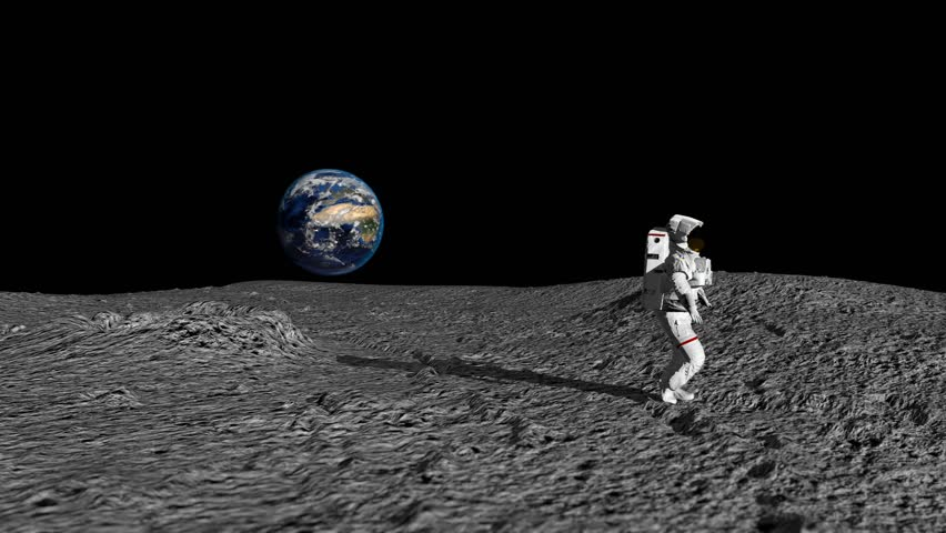 An Astronaut Doing The Moonwalk And Dancing On The Moon Slow Motion. Elements of this video furnished by NASA.