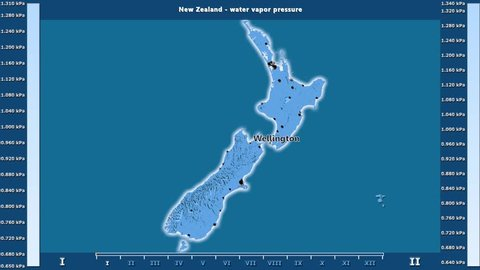 Water vapor pressure by month in the New Zealand area with animated legend - English labels: country and capital names, map description. Stereographic projection