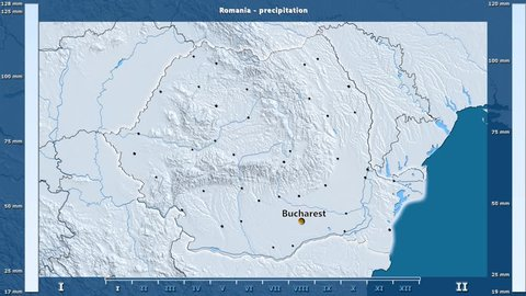 Precipitation by month in the Romania area with animated legend - English labels: country and capital names, map description. Stereographic projection