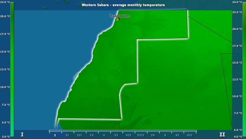 Average temperature by month in the Western Sahara area with animated legend - English labels: country and capital names, map description. Stereographic projection