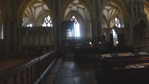Wells, England - June 2, 2018: Interior of Wells Cathedral - 90 degrees of Choir, quarter turn from Altar towards Organ