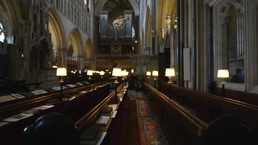 Wells, England - June 2, 2018: Interior of Wells Cathedral - Choir Scanning, Organ and Benches