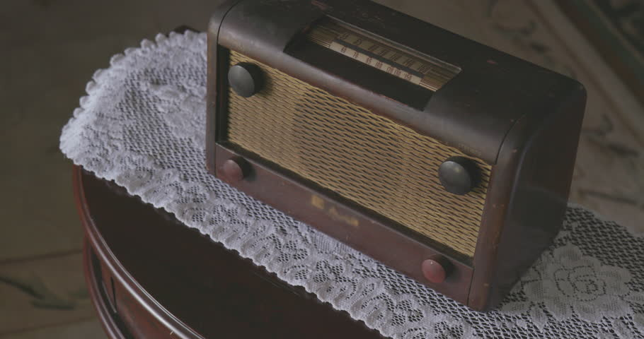Antique Wooden Radio with Dial on Wooden Table | Shutterstock HD Video #1013673962