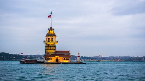 4k Maiden's tower. Kiz Kulesi. Istanbul