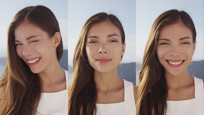 Vertical Videos - Portrait of Beautiful Woman Smiling Happy winking looking at camera. | Shutterstock HD Video #1013700362