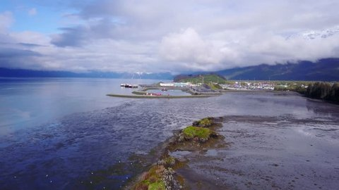 Alaskan Fjord fly over with nesting kittiwakes. ing drone shot)