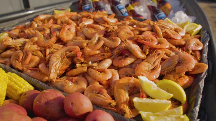 Boiled seafood from New Orleans Louisiana Restaurant.