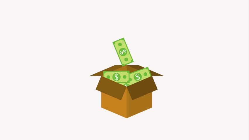Cardboard box filled banknote money dollar   Shutterstock HD Video #1013792132
