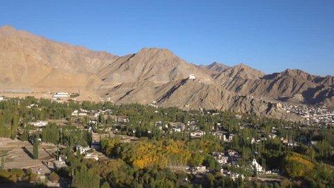 Panorama view of Leh city in Leh Ladakh, Northern India