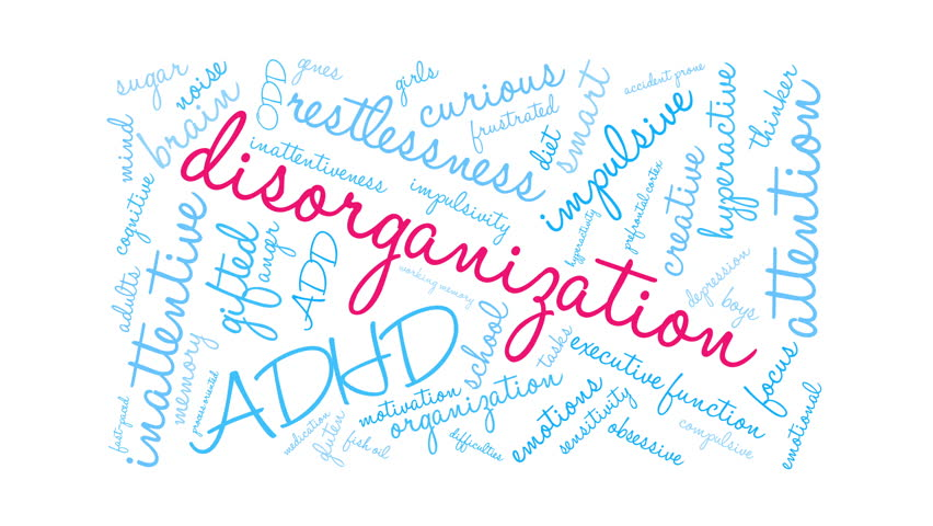 Disorganization ADHD word cloud on a white background.