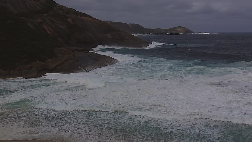 Wild winter storm at the Salmon Holes at Albany in Western Australia. Several people have been washed off the rocks here and drowned.