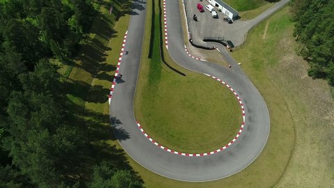 Aerial Go Kart Racing Track. Sunny Summer Day Karting Competition.